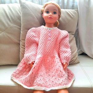 Prairie Baby Dress Puffed Sleeves Bubblegum Pink